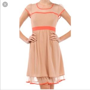 Anthropologie A'reve Dress lace and coral accents